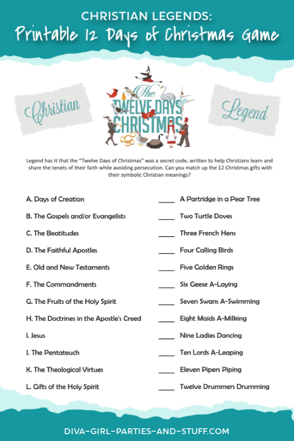 Christian Legends: 12 Days of Christmas Game