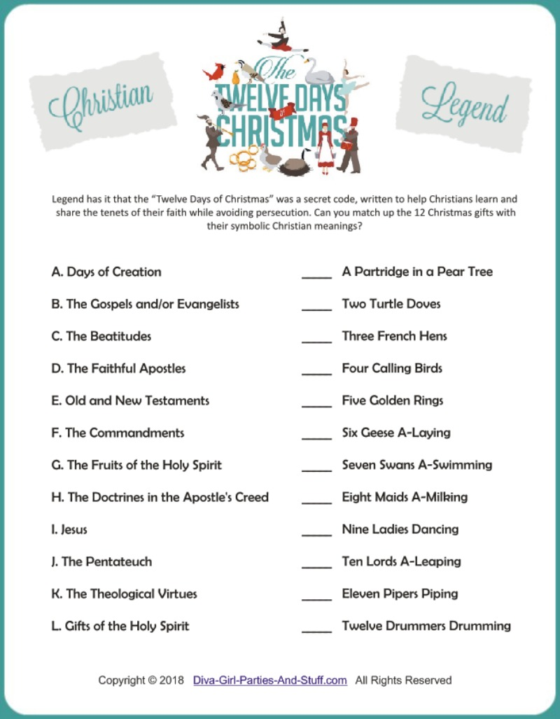 picture relating to Words to 12 Days of Christmas Printable named Lady Things Social gathering Site