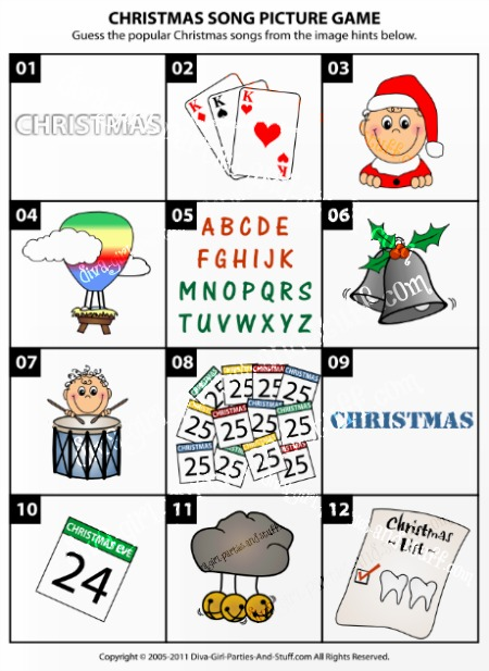 Christmas Song Picture Game Image Descriptions