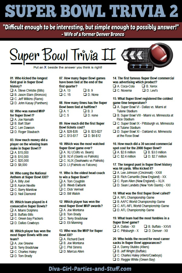 Printable Super Bowl Trivia Questions and Answers
