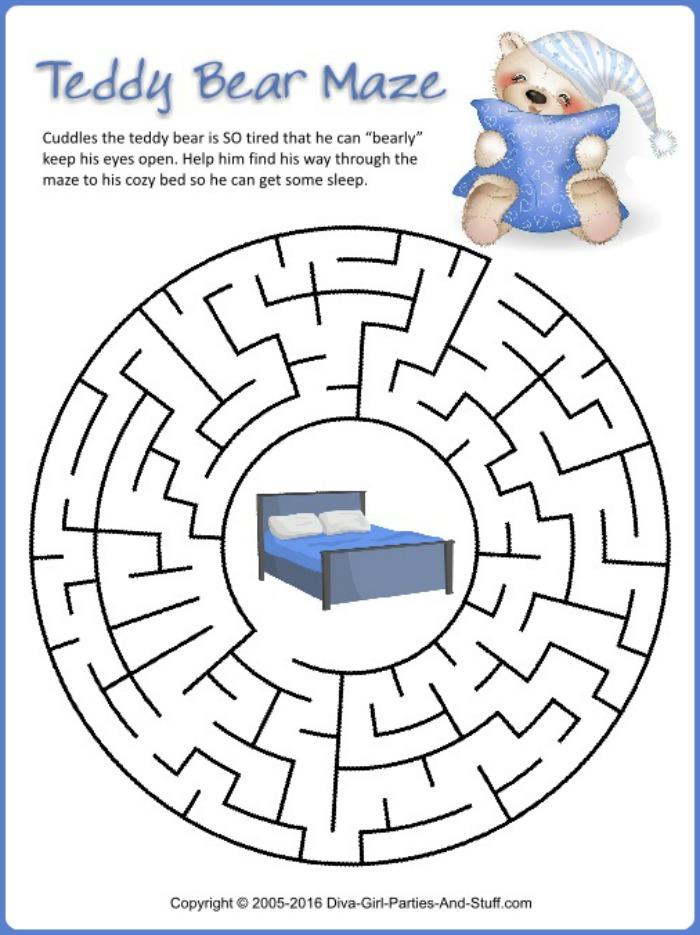 Printable Teddy Bear Maze