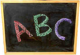abc written in colored chalk