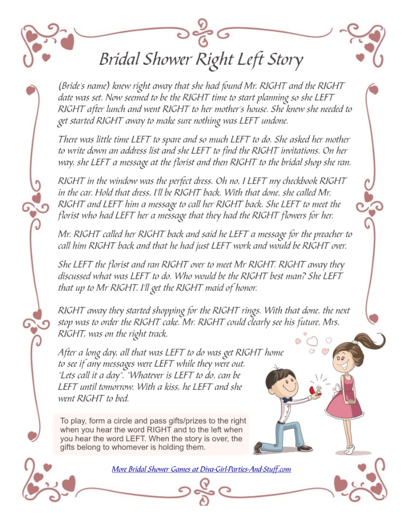 printable right left bridal shower story game