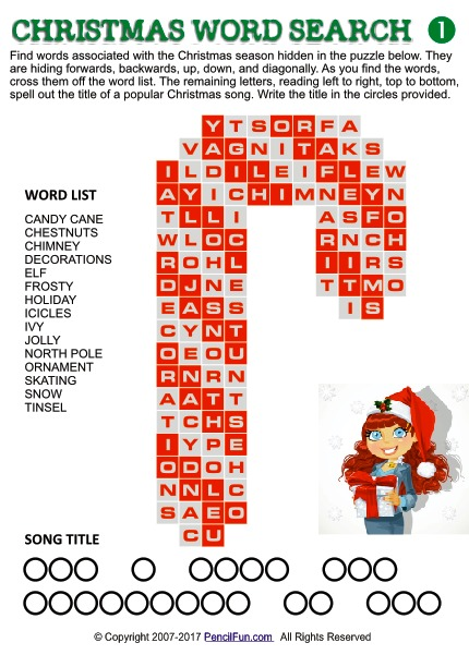 Candy Cane Christmas Word Search
