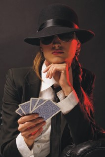 gangster girl playing cards at a casino party