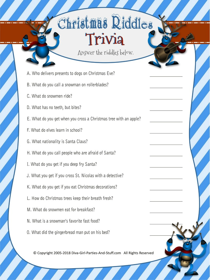 photo about Printable Riddles With Answers referred to as Xmas Riddles Trivia Sport 2 Printable Types with