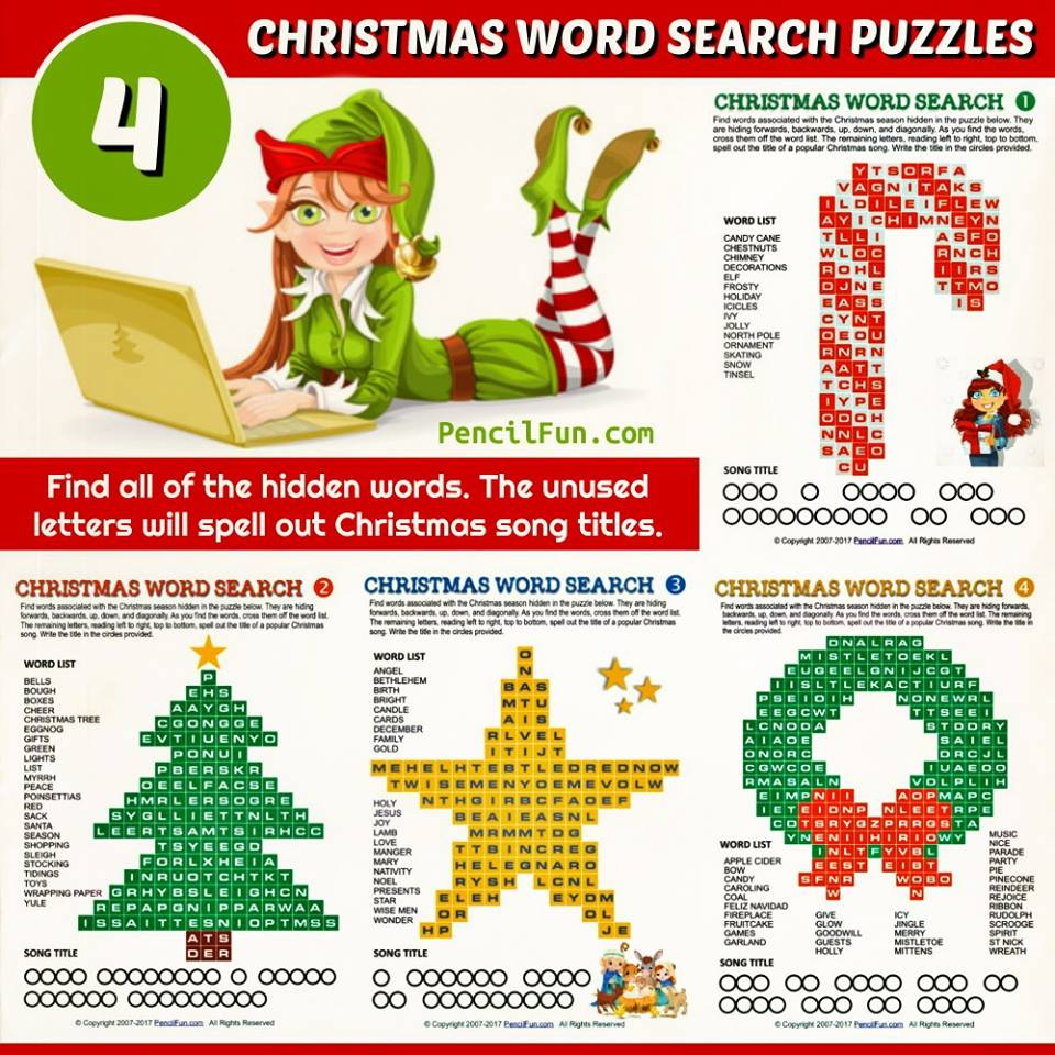 Unique Christmas Word Search Puzzles - Star, Tree, Candy Cane, and Wreath