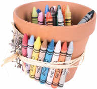 terra cotta pot full of crayons