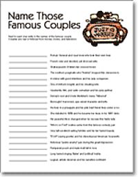Famous couples by alphabet bridal shower game Usa bridal elizabethtown ky