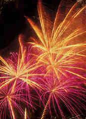 pinkand yellow fireworks