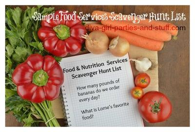 Food Services Scavenger Hunt List