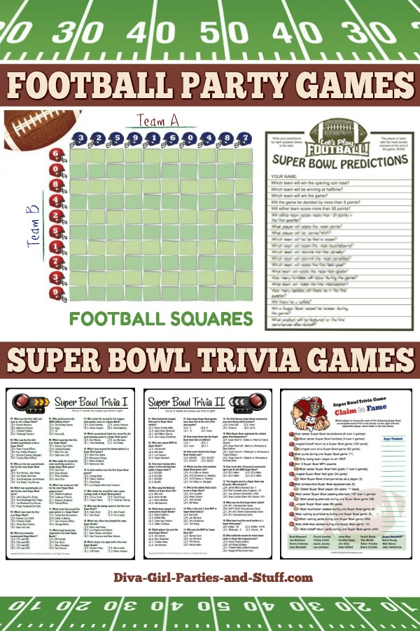 Super bowl party ideas and printables for Super bowl party items