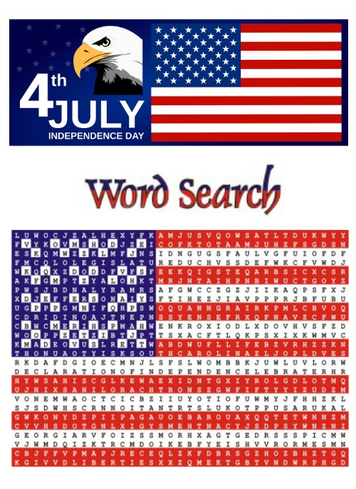 July 4th Flag Word Search
