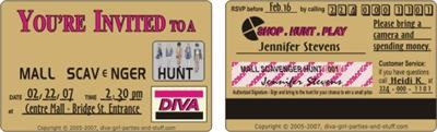 sample mall scavenger hunt invitation credit card