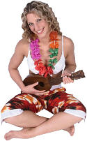 tropicl girl playing ukelele