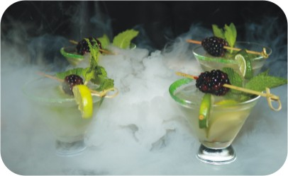 Mojito Party Cocktails in Dry Ice Mist