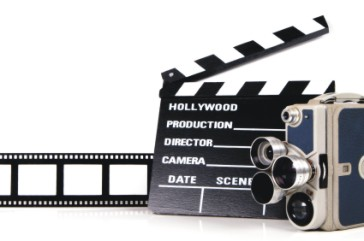 movie camera, clapboard and film