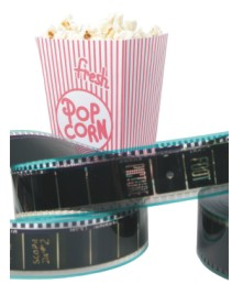 Movie Film Reel and Box of Popcorn