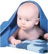 baby peeking out under a towel