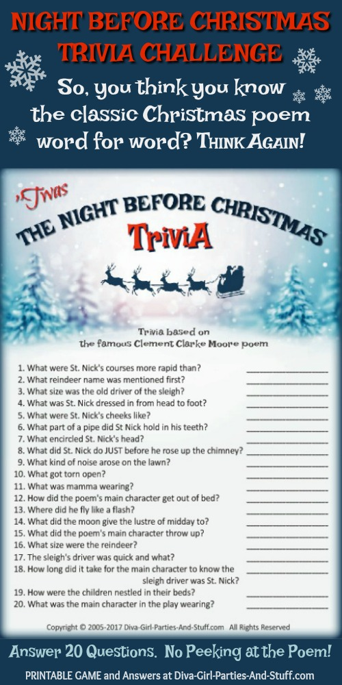 The Night Before Christmas Trivia Game