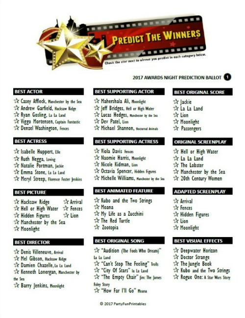 Printable Oscar Winners Prediction Game