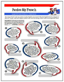 Printable Pardon My French Word Game