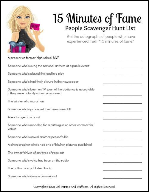 People Scavenger Hunt 15 Minutes Of Fame