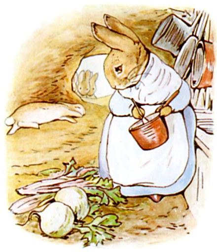 Peter Rabbit's Mother Cooking Dinner