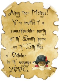 pirate party invitation wording