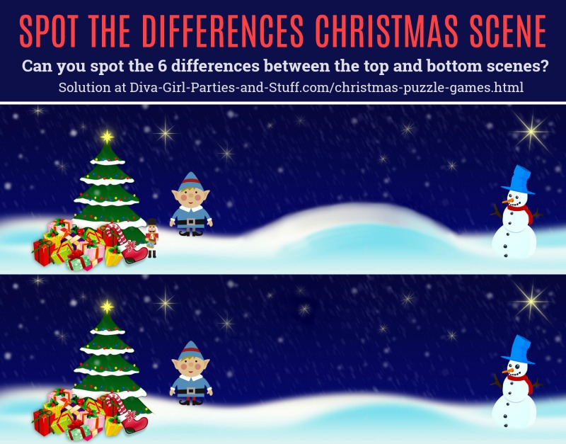 Spot the Differences Christmas Puzzle Game