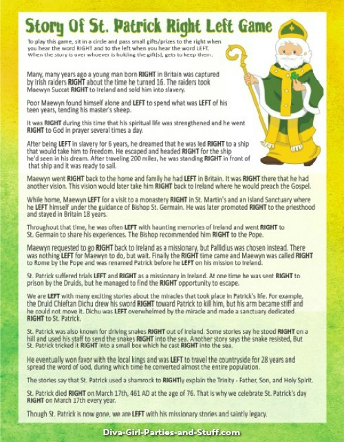 graphic about Free Printable Left Right Birthday Game called St Patricks Working day Celebration Recommendations and Video games