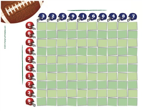 free super bowl squares game for office pools