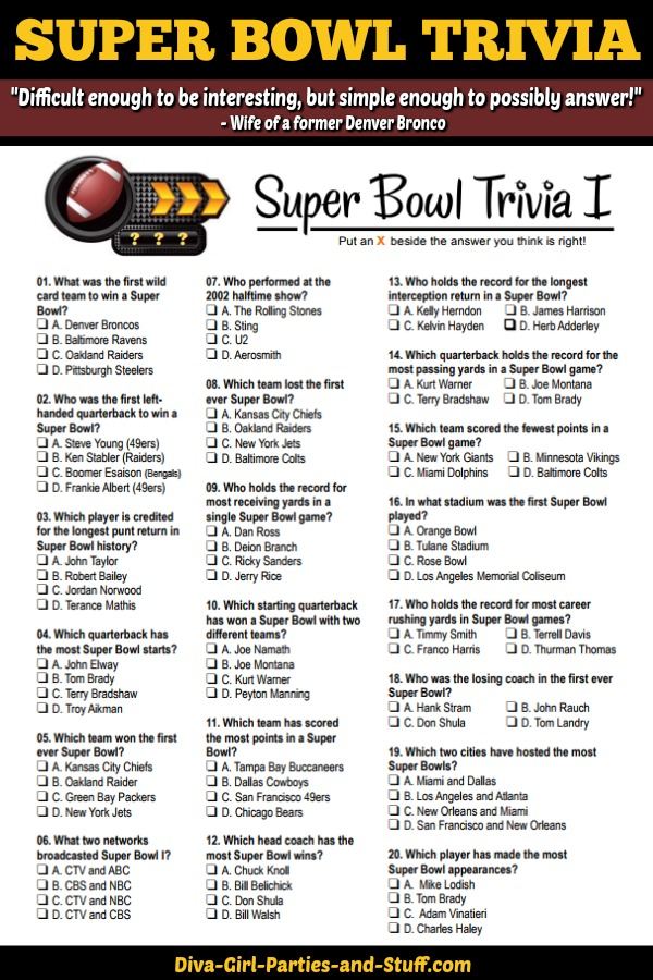 image about Super Bowl Party Games Printable referred to as Tremendous Bowl Trivia Several Selection Printable Match Current