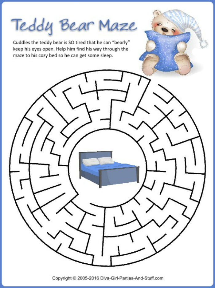 Printable Teddy Bear Maze
