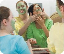 teens with green facial masks