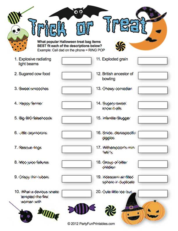 printable trick or treat candy game - Halloween Trivia With Answers