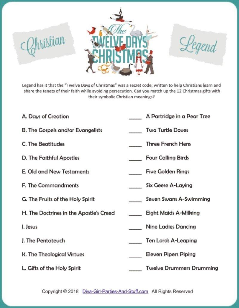 Christian Legend: 12 Days of Christmas Game