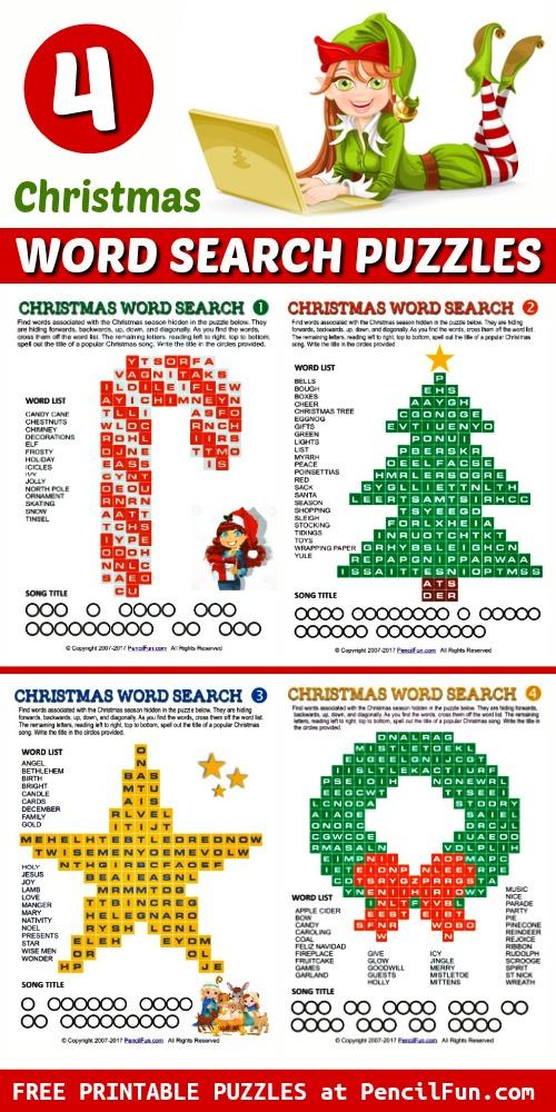 4 Printable Christmas Word Search Puzzles Shaped Like Christmas Symbols