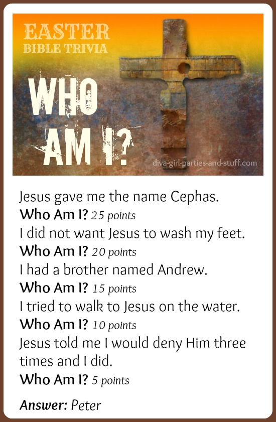 Easter Bible trivia clues for Peter