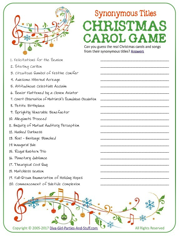 Christmas Carol Game , Guess the Synonymous Song Titles