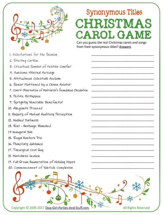 Printable Christmas Carol Game