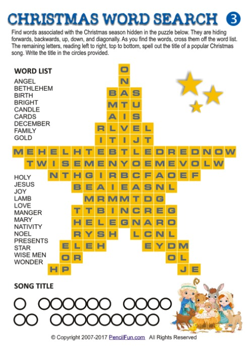 christmas star word search puzzle - Classic Christmas Songs List