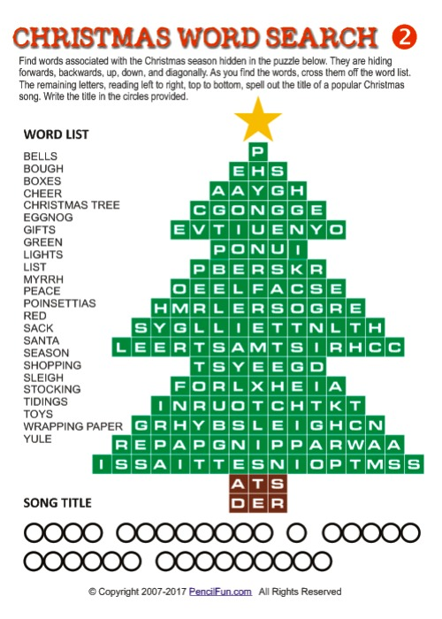 Christmas Tree Word Search Puzzle