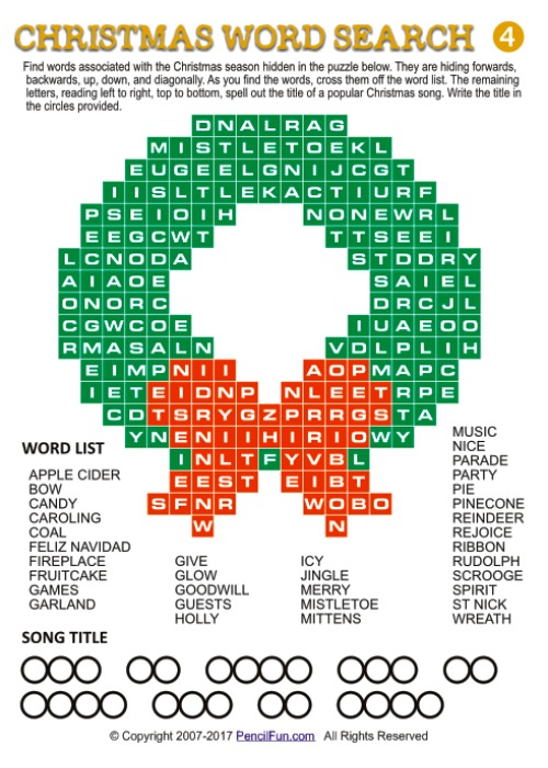 Christmas Wreath Word Search Puzzle