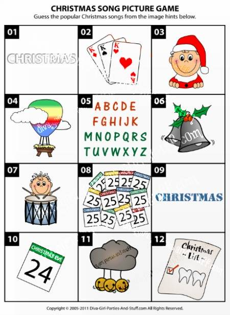 christmas song picture game - Popular Christmas Songs
