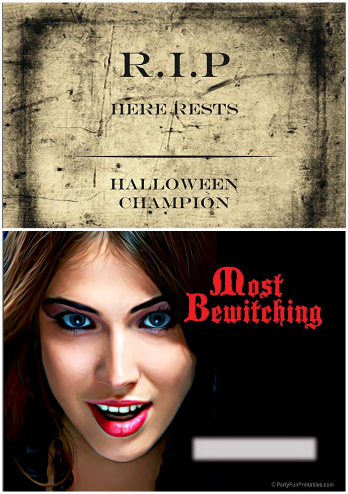 Printable Halloween Costume Awards