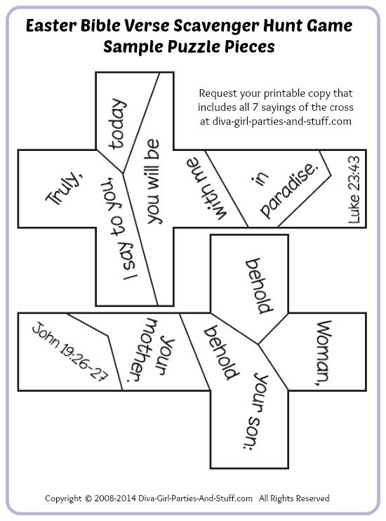 Easter Bible verse scavenger hunt puzzle game