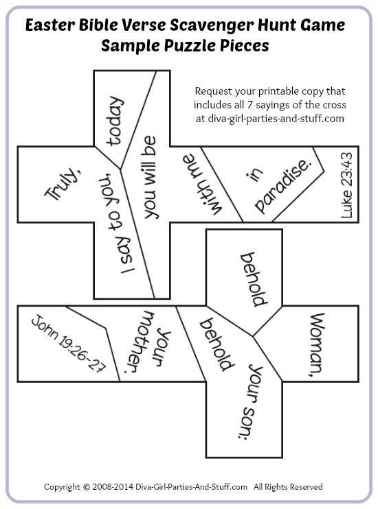 Easter Bible verse scavenger hunt puzzle game