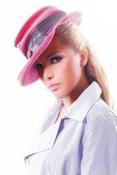 beautiful girl in pink hat