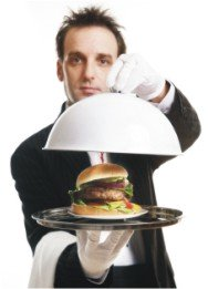 butler serving a hamburger